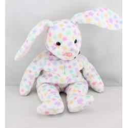 Doudou Beanie Babies lapin blanc fleurs multicolores TY 2003