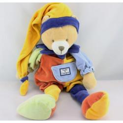 Doudou et compagnie Ours arlequin bleu vert orange