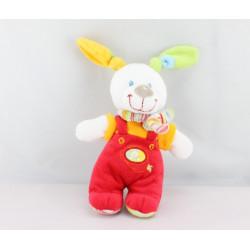 Doudou lapin rouge orange NICOTOY 18 cm