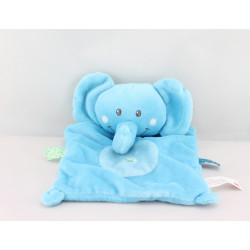 Doudou plat éléphant bleu étiquettes NICOTOY