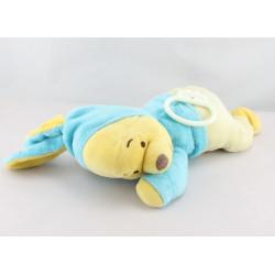 Doudou musical winnie l'ourson déguisé en lapin bleu jaune DISNEY