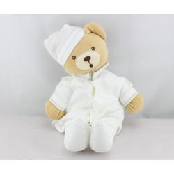 Doudou ours chemise blanche feuilles brodées Dragée KALOO