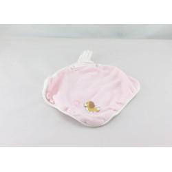 Doudou plat carré chien Belle blanc rose rayé DISNEY BABY