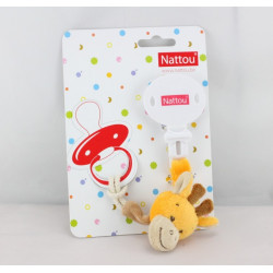 Attache tétine doudou girafe orange NATTOU