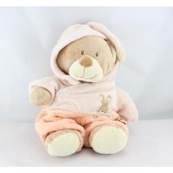 Doudou ours déguisé en lapin rose saumon NICOTOY
