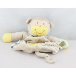 Doudou plat singe beige jaune PREMAMAN