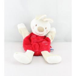 Doudou plat marionnette lapin rouge SUCRE D'ORGE