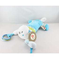 Doudou eveil chat blanc bleu vert pois NICOTOY