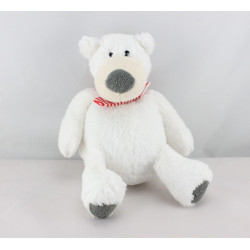 Doudou ours blanc écharpe rougé rayé PRIMATIS