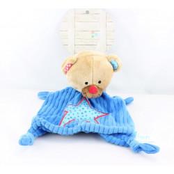 Doudou plat ours bleu étoile LIEF