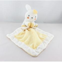 Doudou lapin blanc jaune mouchoir VETIR GEMO