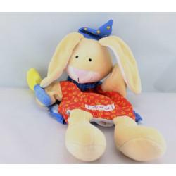 Doudou plat marionnette lapin rouge bleu magicien SIGIKID