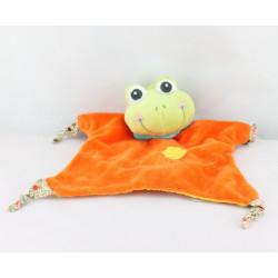 Doudou plat grenouille verte orange AURORA BABY