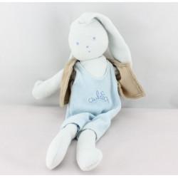 Doudou lapin bleu gilet marron AUBISOU