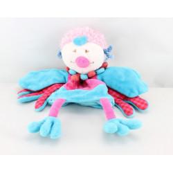 Doudou plat oiseau bleu rose CATIMINI
