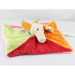 Doudou plat éléphant rouge orange vert rose HAPPY HORSE