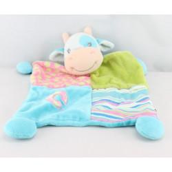 Doudou  plat vache bleu patchwork Cow LIL BARNYARD