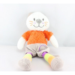Doudou chat beige orange cercles JOGYSTAR KIABI