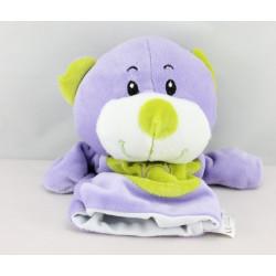 Doudou marionnette ours violet vert  JEUX 2 MOMES
