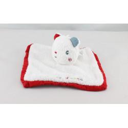 Doudou plat ours blanc rouge Doumou de bain SUCRE D'ORGE