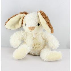 Doudou lapin blanc marron tout doux HISTOIRE D'OURS
