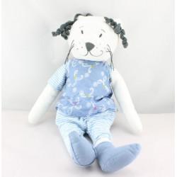 Doudou chat blanc bleu rayé IKEA