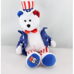 DPeluche ours blanc magicien rouge bleu étoiles LIMITED TREASURES 2002