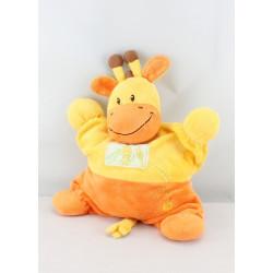 Doudou semi plat girafe jaune orange Ma ptite tribu