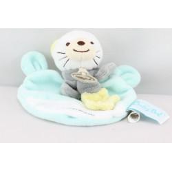 MMini Doudou plat chat bleu blanc BABY NAT