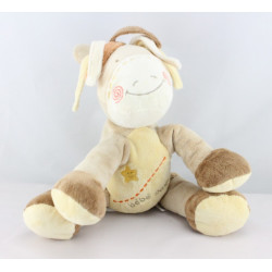Doudou musical Bébé poney beige jaune orange étoile KIABI