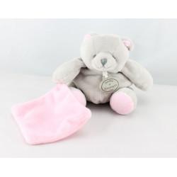 Doudou et compagnie ours gris mouchoir rose