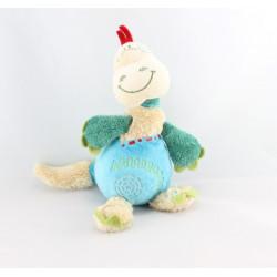 Doudou dinosaure dragon beige vert bleu CATIMINI