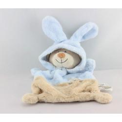 Doudou plat ours déguisé en lapin beige bleu GRAIN DE BLE
