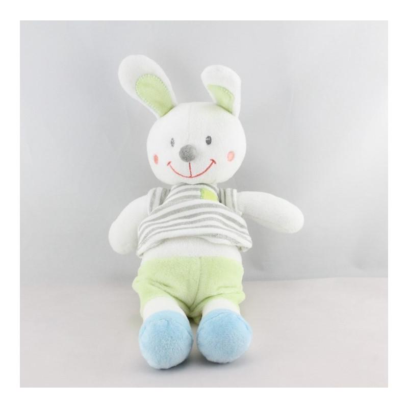 Doudou  lapin blanc bleu vert rayé gris NICOTOY