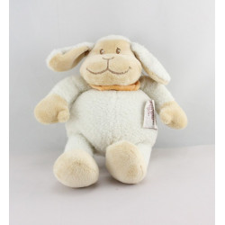 Doudou mouton agneau blanc beige foulard orange BENGY
