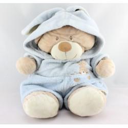 Doudou ours déguisé en lapin bleu NICOTOY