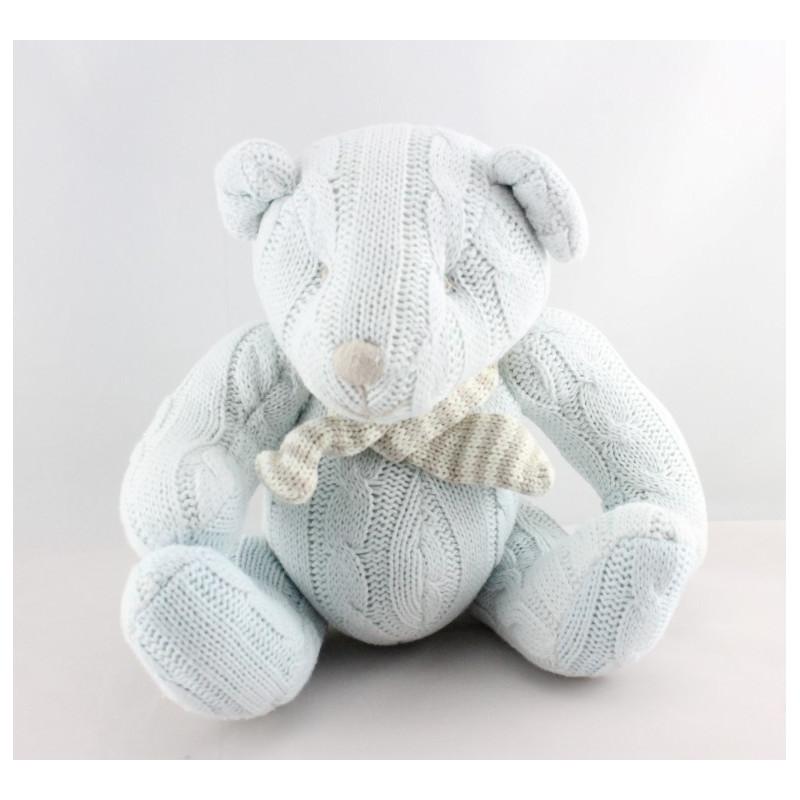 Doudou ours bleu laine LES PETITES MARIE