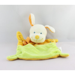 Doudou plat Chien jaune vert NICOTOY