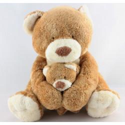 Doudou ours beige écru avec bébé NICOTOY