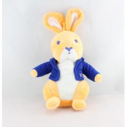 Doudou Lapin beige gilet bleu PICOT