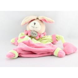 Doudou plat marionnette lapin rose vert Fiona adore les bisous BABY NAT