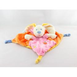 Doudou plat lapin rose orange oiseau MOTS D'ENFANTS