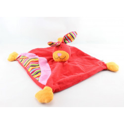 Doudou plat lapin rouge rose rayé CP INTERNATIONAL