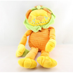 Doudou lion orange vert rayé jaune CREACIONES