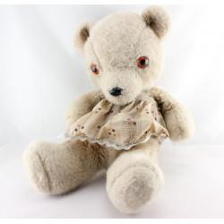 Ancienne peluche ours beige avec tablier AJENA