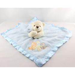 Doudou plat couverture bleu satin Winnie l'ourson Snuggle time Disney