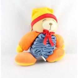 Doudou musical ours accordéon bleu orange jaune rouge KALOO
