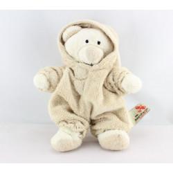 Doudou ours déguisé en lapin ecru jaune NICOTOY