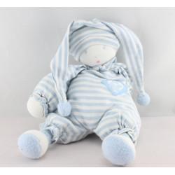 Doudou poupée lutin pyjama rayé bleu MOULIN ROTY
