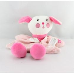 Doudou plat lapin rose blanc coeur étoiles
